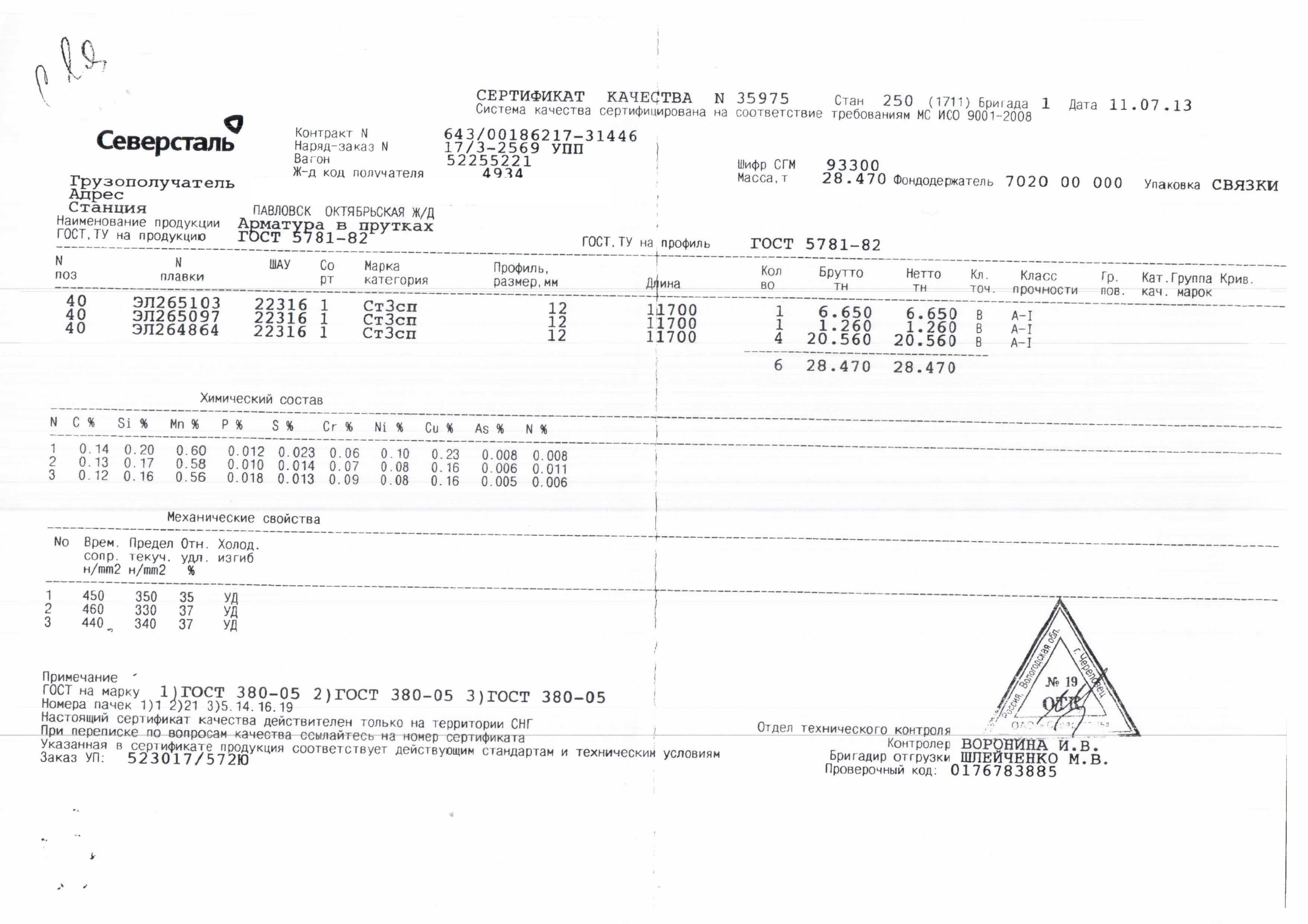Сертификат на арматуру 16 скачать.